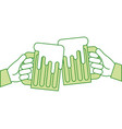 hands holding green beer mug foam vector image vector image