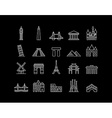 International landmark simple line art icon set vector image