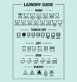 laundry guide washing icons set vector image vector image