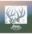 Linocut with a image of deer horns vector image