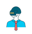 man avatar on steel helmet vector image