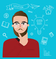 man thinker wearing glasses inspiration ideas vector image