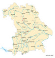 map state bavaria with major cities vector image vector image
