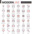 modern education flat thin red black line icons vector image vector image