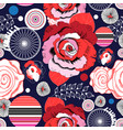 multi-colored summer pattern different roses vector image