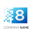 number eight logo symbol in the colorful square on vector image vector image