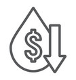 oil price fall line icon crisis and fuel oil vector image