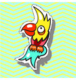 parrot funny with smile fashion patch badge pin vector image vector image