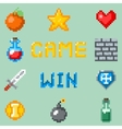 Pixel games icons for web app or video game vector image vector image