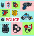 police and justness symbol icons banner vector image vector image