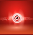 red background with eye and circuit vector image vector image