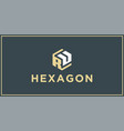 ru hexagon logo design inspiration vector image vector image