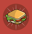 sandwich fast food icon vector image