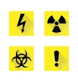 Set of black warning signs on the yellow vector image vector image