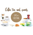 set of coffee drinks sweets and bakery products vector image vector image
