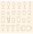 Set of linear drinkware on beige background vector image