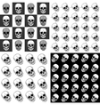 Set of seamless patterns with skulls over black vector image