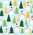 snowmen seamless kids pattern cute snowman vector image