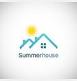 summer house sun logo vector image vector image