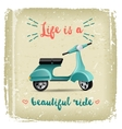 summer time design with vintage scooter vector image