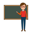 teacher male with chalkboard avatar character vector image vector image