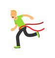 teen boy running to the finish line first active vector image vector image