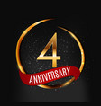 template gold logo 4 years anniversary with red vector image vector image