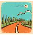 Vintage Nature landscape with road vector image vector image