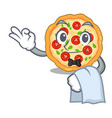Waiter margherita pizza isolated with cartoons