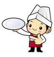 funny cook character is holding a plate isolated vector image