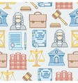 Law contour icons seamless pattern in flat design vector image