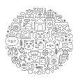 pet shop concept in circle - concept line vector image