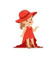 beautiful girl wearing dult oversized elegant red vector image