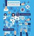 bitcoin blockchain cryptocurrency and computer vector image vector image