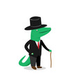business crocodile in suit cartoon vector image