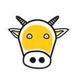 Cartoon animal head icon Cow face avatar vector image
