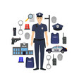 cartoon color policeman and police elements banner vector image vector image