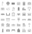 city icons set outline style vector image vector image