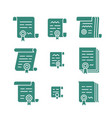 contract solid icons vector image vector image