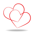 Couple love hand drawn heart vector image