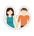 couple romantic love portrait relation cut line vector image vector image