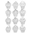cup cake set decorated cupcakes with hearts stars vector image vector image