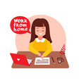 cute girl works at a laptop vector image