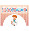 Doctor holding little baby vector image vector image