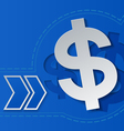 Dollar Signs and Arrows on Blue Background vector image