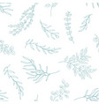 eucalyptus leaves seamless pattern hand drawn vector image