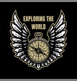 exploring world compass and wings sign vector image vector image