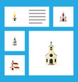 flat icon church set of building structure vector image vector image