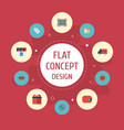 flat icons case bus present and other vector image vector image