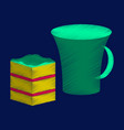 flat shading style icon cup of coffee and pie vector image vector image